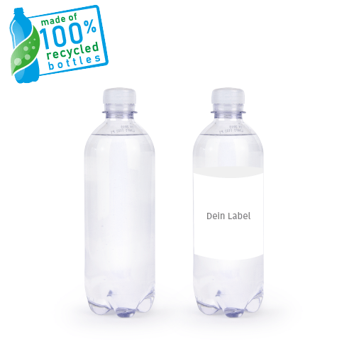 YOUR-WATER Wasserflasche recyceltes PET 0,5l mit Label